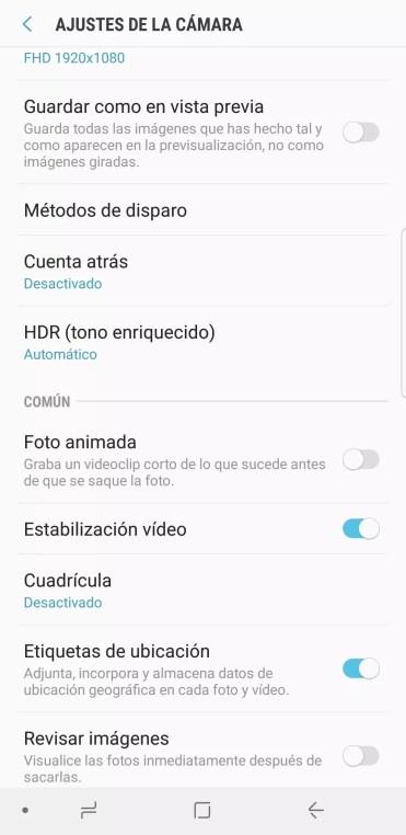 Foto animada en el Samsung Galaxy Note 8 desactivada