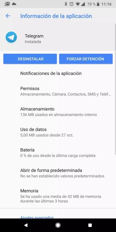 Información aplicación en Android Oreo