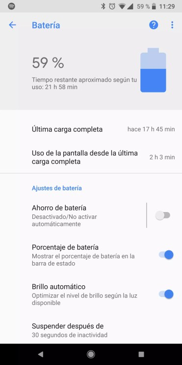 Apartado batería en Android Oreo