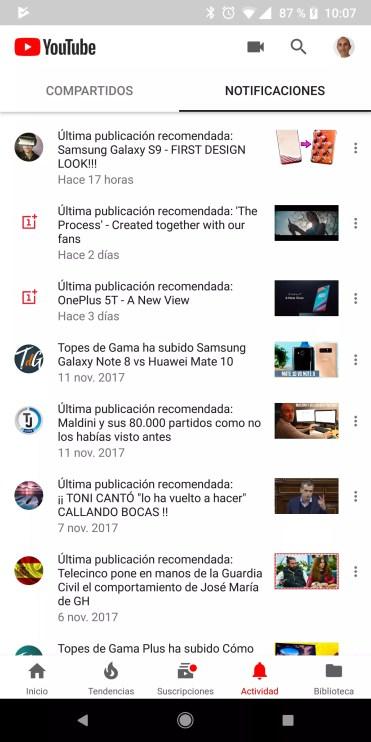 Apartados notificaciiones YouTube