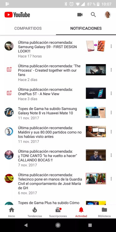 Apartados notificaciiones YouTube
