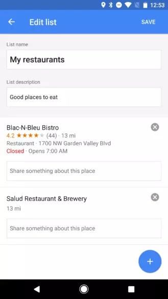Añadir notas en localizaciones litas de Google Maps