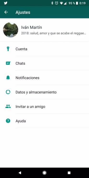 Pantalla Ajustes en WhatsApp