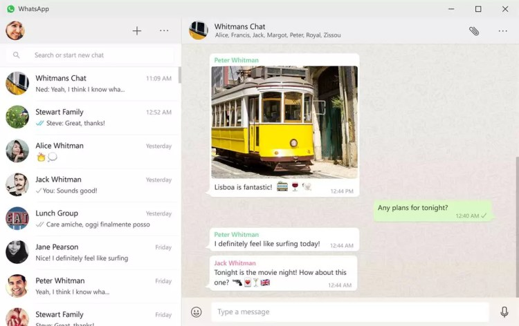 Interfaz de WhatsApp para Windows 10