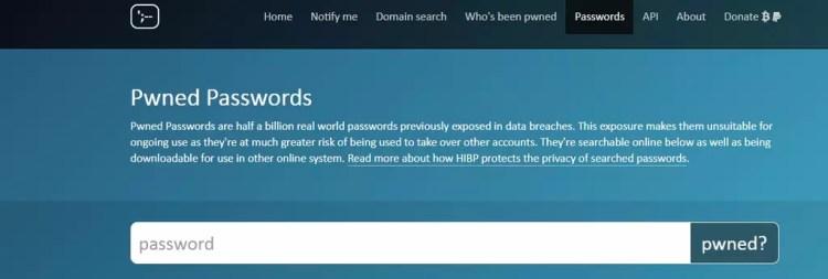 Interfaz de Pwned Password