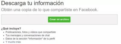 Crear archivo Facebook