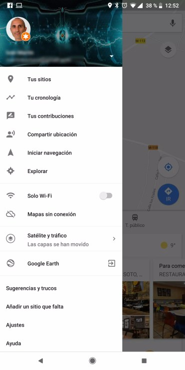 Interfaz de Google Maps