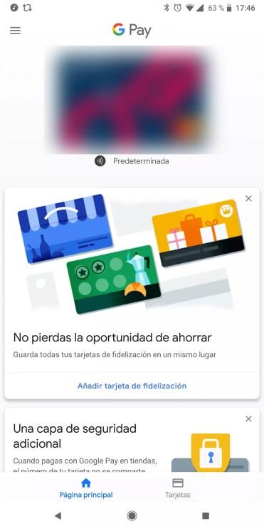 Interfaz de la aplicación Google Pay