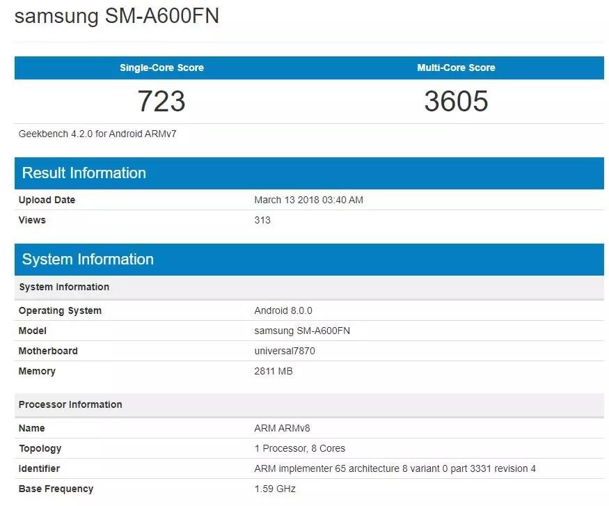 Teléfono Samsung Galaxy A6 en Geekbench