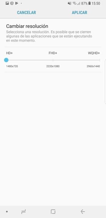 reslución HD+ establecida en el Samsung Galaxy S9