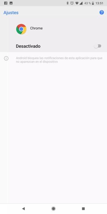 Apartado para dejar de recibir notificaciones en Chrome