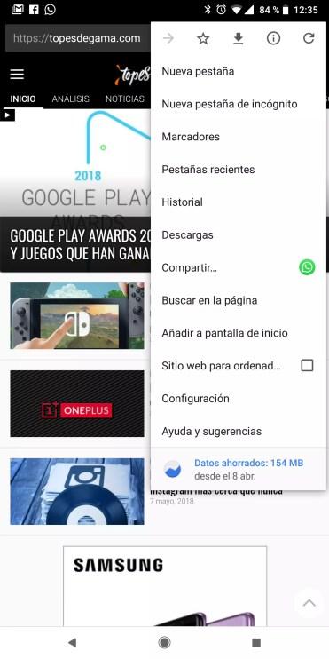 Configuración en Google Chrome