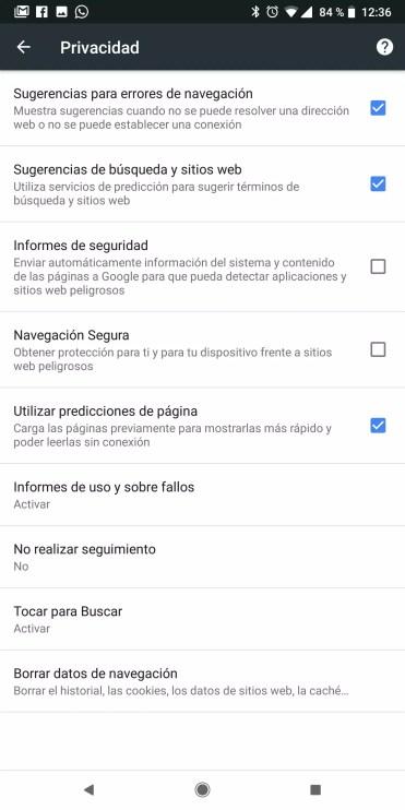 Opciones de privacidad en Google Chrome