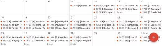 Lista de partidos del Mundial de Rusia 2018 en el calendario de Google