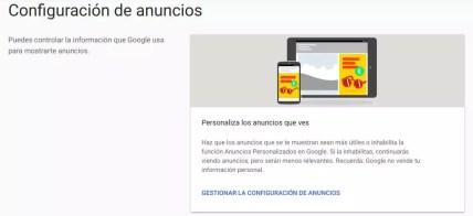Apartado para gestionar anuncios de Google