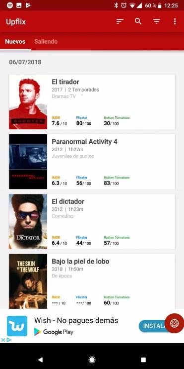 Interfaz de usuario de Upflix para Netflix