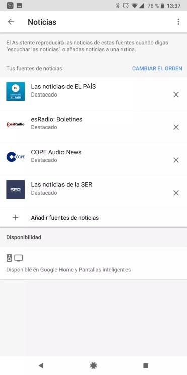 Noticias asistente google