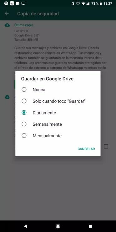 Opciones de tiempo para cada copia de seguridad en WhatsApp