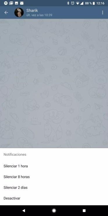 Opciones al silenciar contactos en Telegram