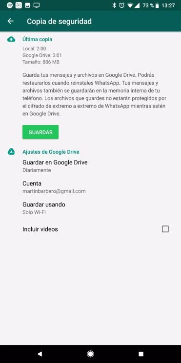 Opciones de copia de seguridad en WhatsApp