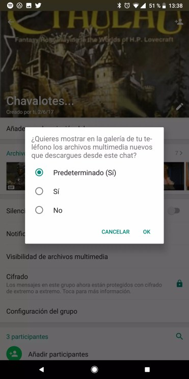 Guardado de contenidos multimedia contacto en WhatsApp