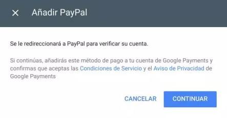 Redirección para utilizar una cuenta de PayPal para comprar en Play Store