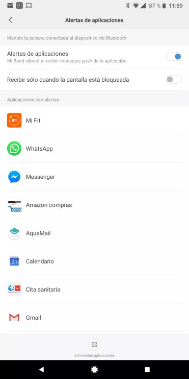 Gestión Apps en Xiaomi Mi Band 3