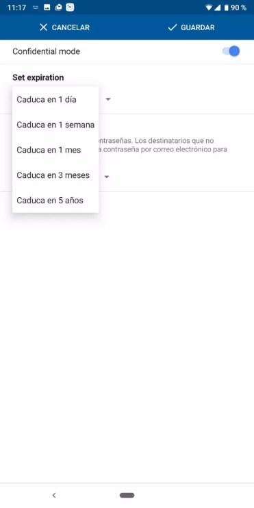 Caducidad correo en Modo Confidencial en Gmail