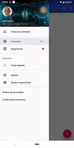 Aplicación Google para hacer una copia de seguridad de los contactos