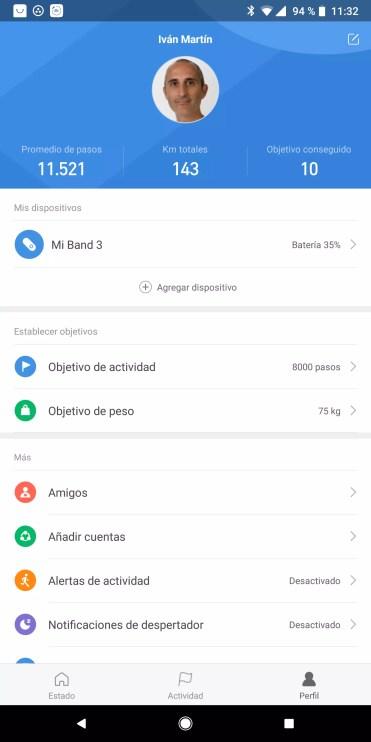Aplicación Mi Fit de la Xiaomi Mi Band 3