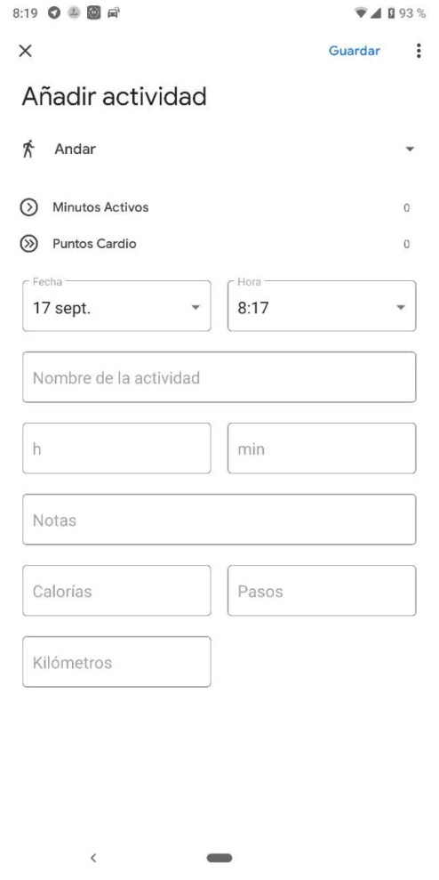 Registrar actividad en Google Fit