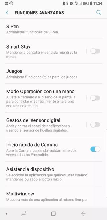 Ajustes avanzados del Samsung Galaxy Note 9