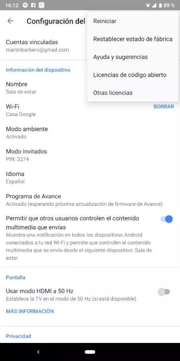 Opciones configuración Chromecast