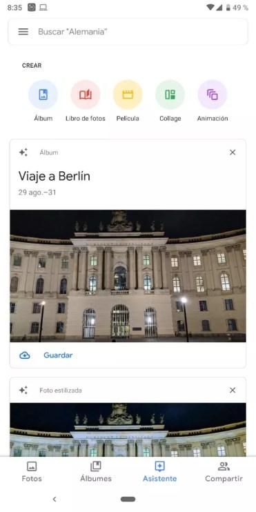 Interfaz nueva Google Fotos