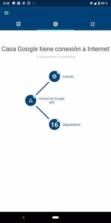 Interfaz de la aplicación Google WiFi