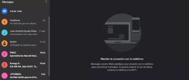 Interfaz oscura en Mensajes de Android para web