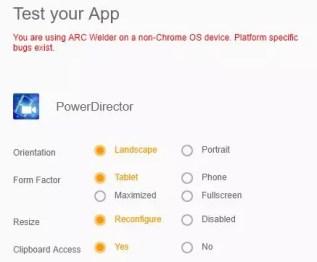 Opciones para ejecutar aplicaciones Android en Google Chrome con ARC Welder