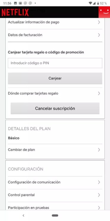 Opciones de la cuenta en Netflix para Android