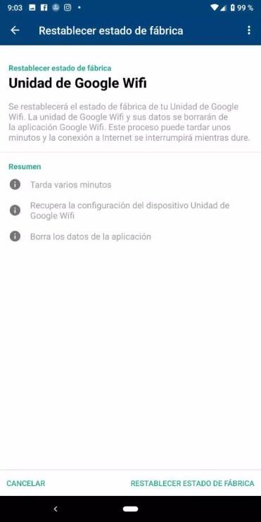 Reinicio de fábrica del router Google WiFi