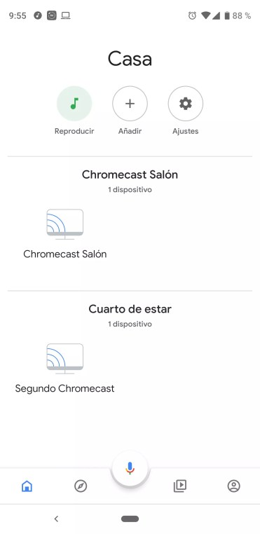 Interfaz de Google Home para Chromecast