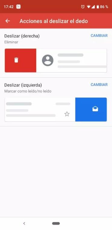 Cambiar gesto en Gmail