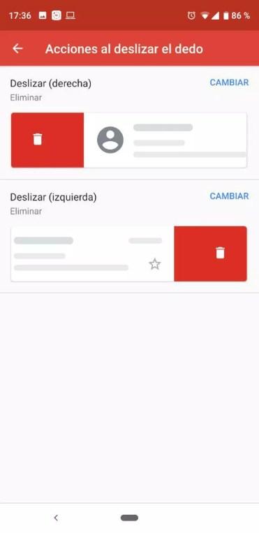Uso de gestos en Gmail
