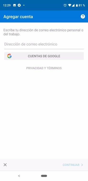 Añadir datos para configurar una cuenta de Gmail en Outlook