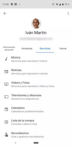 Ajustes de servicios para el asistente de Google