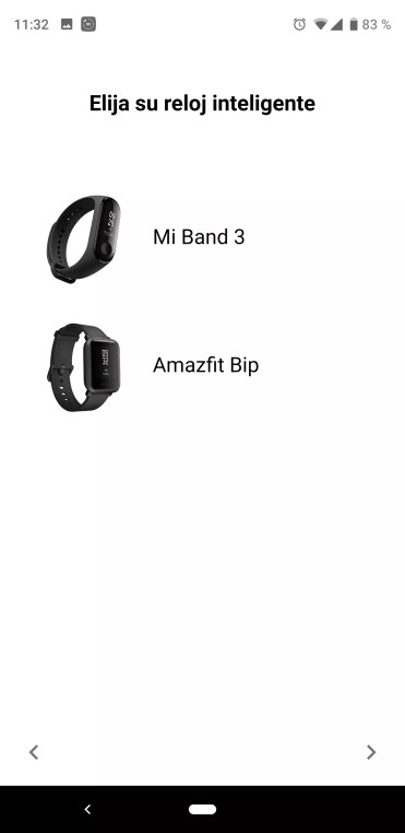 Selección inicial Mi Band Maps