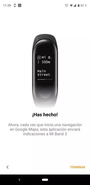 Aplicación Mi Band Maps configurada