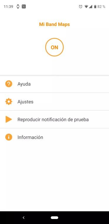 Interfaz de la aplicación Mi Band Maps