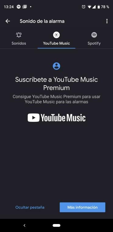 Uso de YouTube Music como alarma en Android