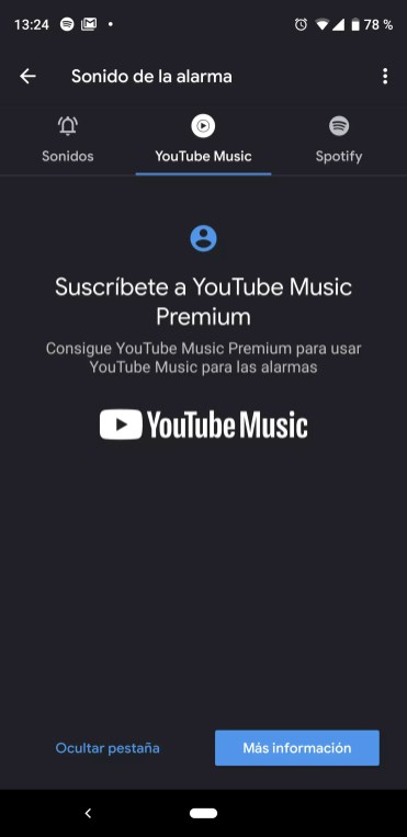 Uso de YouTube Music como alarma en Android