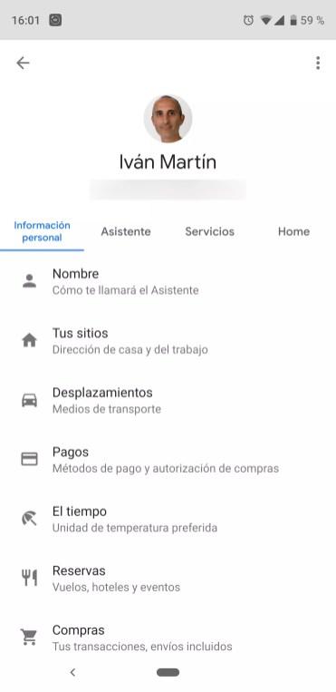 Datos personales en el asistente de Google